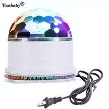Tanbaby 48 LED RGB Stage Light Sound Actived Auto RGB Mini Rotating Magic Disco Ball Strobe PAR Party Lights For DJ Dancing Show(China)
