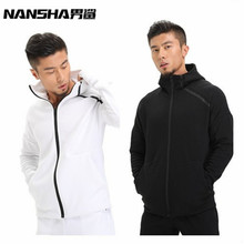 NANSHA Brand Mens Hoodies Fitness Long Sleeve Bodybulding Zipper Sweatshirts Gyms Muscle Fit Clothes Hooded Jackets(China)
