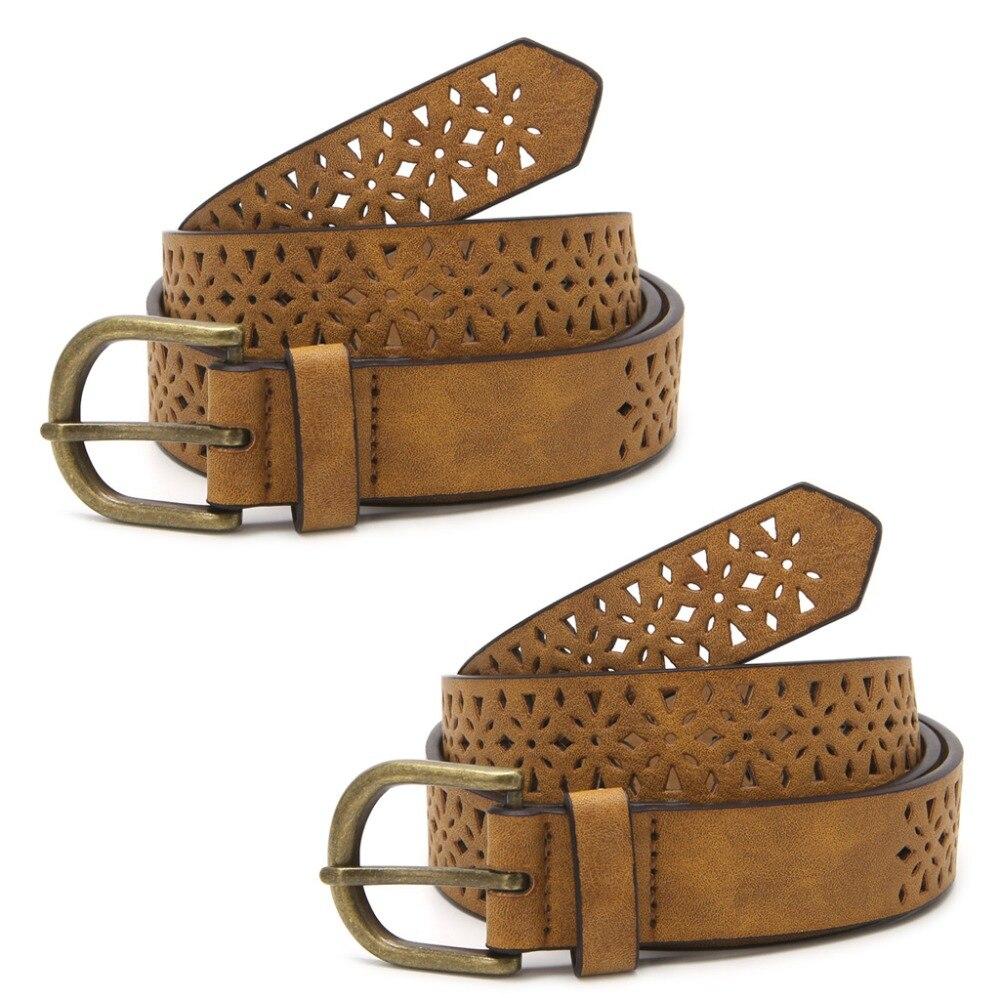 Fashion Women Lady Leather Belt Skinny Pin Buckle Waist Strap Waistband Hollow Brown #