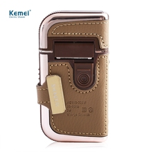 NEW 2 in 1 KEMEI Electric Rechargeable Men Shaver Razor Vintage Leather Wrapped Reciprocating Shaver Portable Electric Shaver