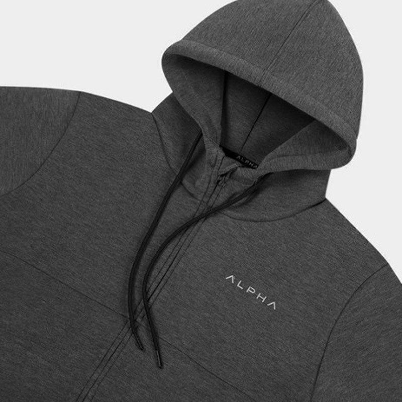2018 Autumn New Mens Zipper Hoodies Fashion Casual Male Gyms Fitness Bodybuilding Cotton Sweatshirt Sportswear Brand Topcoat Clear-Cut Texture
