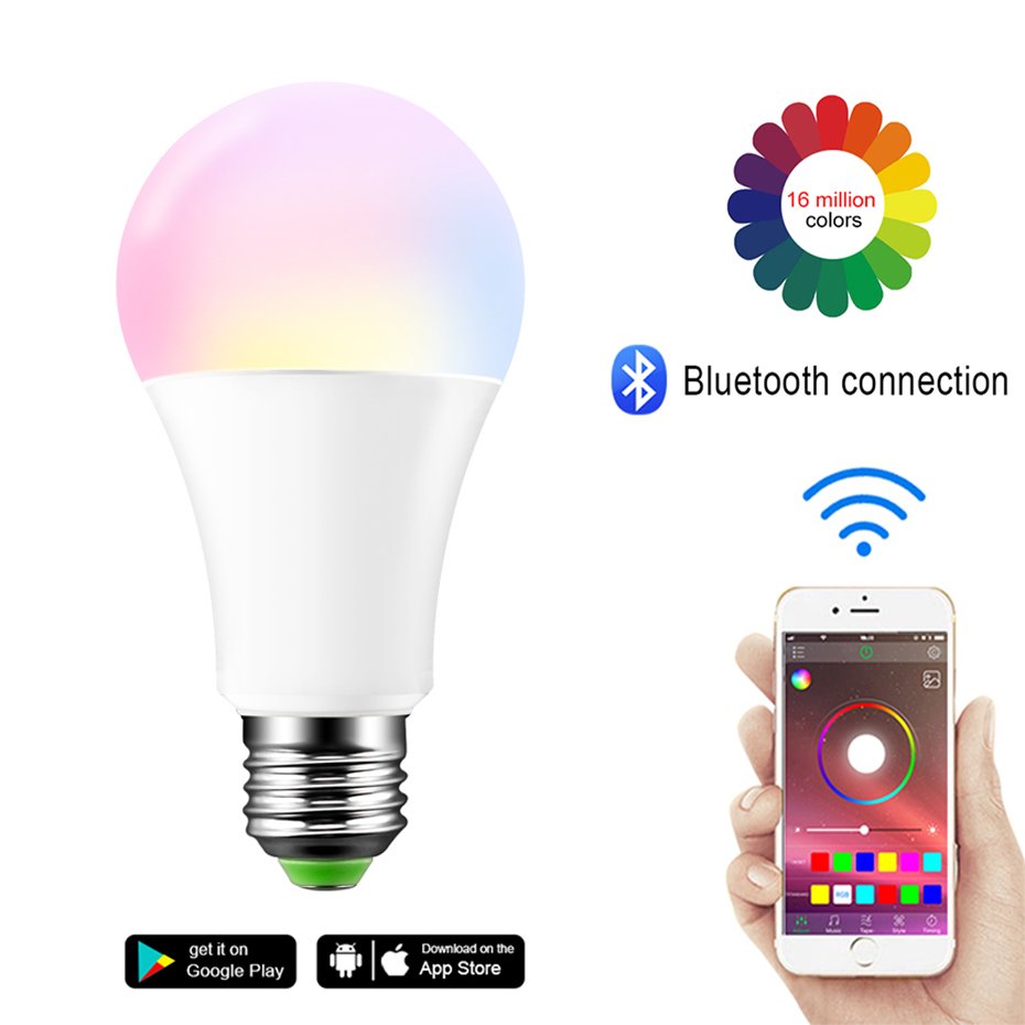 Bluetooth E27/B22 Color Changing Rgb Magic Light Bulb Lamp Ac85 265v 15w Dimmable Wireless Led Lamp Rgb Led Light Spotlight