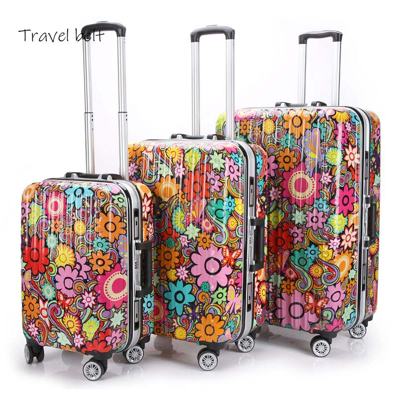 Colorful Flowers 100% Aluminum Frame 20/24/28 Inch Size High Quality Rolling Luggage Spinner Brand Travel Suitcase