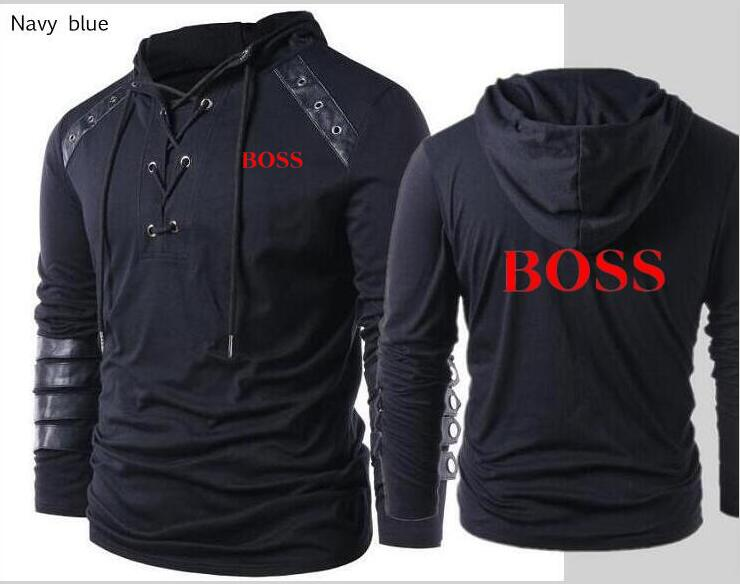 Fashion men's boss clothing loose hooded letters boss casual zipper sports leather hoodie long sleeve jacket(China)