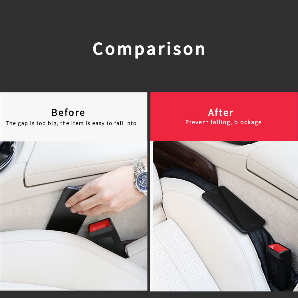 For Honda Civic Car Seat Gap Plug PU Leather Filler Leakproof Protector Cushion Crevice Gap Stopper Prevent thing From Falling 2Pcs Red
