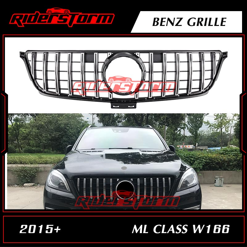 For ML Class W166 AMG GT R grille Front silver Grille Mesh Radiator FOR Mercedes Benz ML250 GLE400 GLE450 grille custom fit car floor mats special for w164 w166 mercedes benz ml gle ml350 ml400 ml500 gle300 gle320 gle400 gle450 gle500 liner