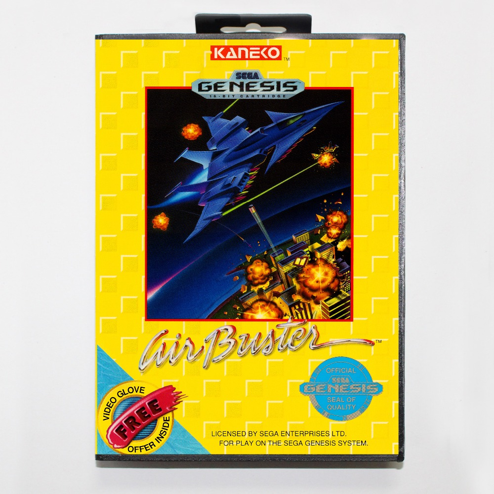 New 16 bit MD game card - air buster with Retail box For Sega genesis system