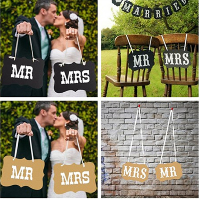 2pcsset Diy Mrmrs Chair Signs Garland Bridal Banner Supplies Paper