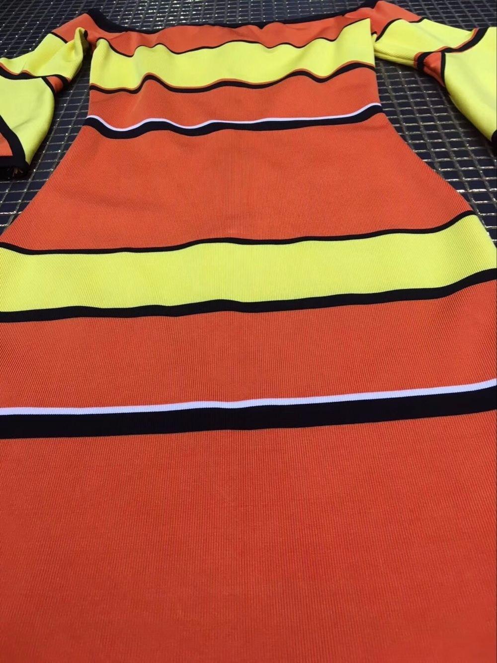 Arancione Fasciatura Neck Alta A Party 58 Slash Rayon Cocktail Più Aderente Strisce Vestito Qualità L Nuova Dalla HqCqX4