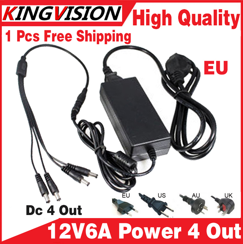 2017sale!12V6A power adapter 4 out AC/DC Adaptor 100V-240V Converter Adapter Power Supply EU/US/UK Plug to 4 Male Power Splitte ihave tank 3 4a 2 usb port us plug power adapter w eu plug converter black ac 100 240v