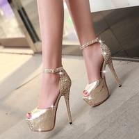 2016 Summer 13 5cm Thin High Heels Peep Toe Pumps With Platform Sequins Rhinestone Banquet Buckle