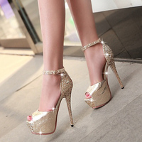 2016 summer 13.5cm thin high heels peep toe pumps with platform sequins rhinestone banquet buckle PU sandals women bridal shoes