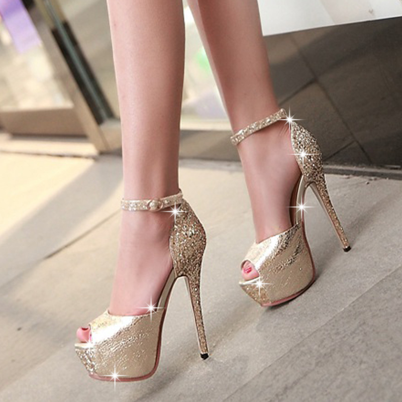 2016 summer 13.5cm thin high heels peep toe pumps with platform sequins rhinestone banquet buckle PU sandals women bridal shoes pu line style buckle rhinestone nice womens sandals