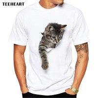 TEEHEART 3D Cute Cat T Shirts Women Summer Tops Tees Print Animal T Shirt Men O