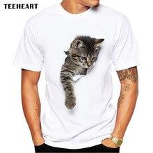Bílé pánské tričko s krátkým rukávem a 3D obrázkem kočky