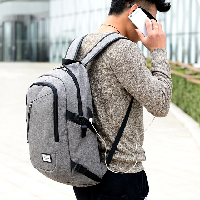 Fashion man laptop backpack usb charging computer backpacks casual style bags large male business travel bag backpack 5