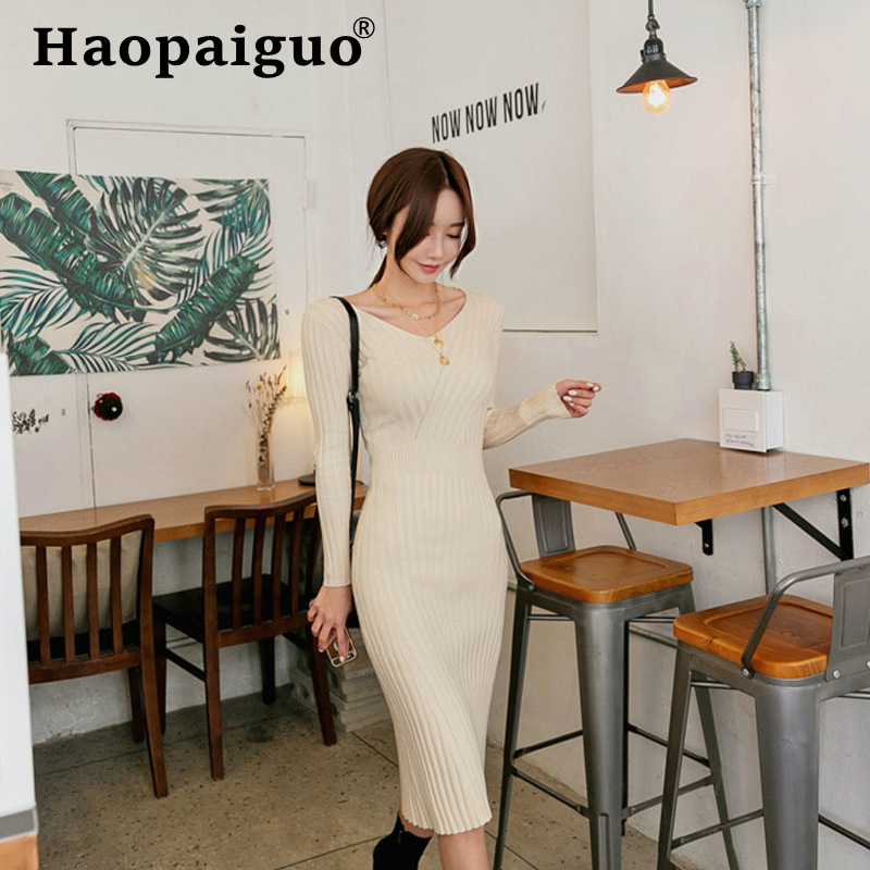 2019 Winter Autumn Elastic Knitted Dress Women Long Sleeve Basic Wear Wrap Midi Solid Sheath Bodycon Sweater