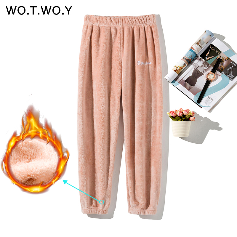 WOTWOY 2019 Colorful Winter Pencil Pants Women Loose Thick Warm Elastic Waist Trousers Female Indoor White Red Velvet Harajuku