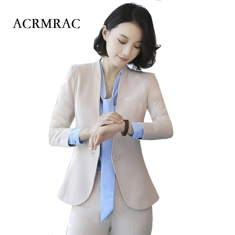 ACRMRAC Women Formal wear Suit apricot Long sleeves Slim OL Formal Pant Suits business attire