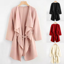 Autumn Winter coat women casual New Fashion Coat Casual Waterfall Collar Pocket Front Wrap Jacket Outwear Y718