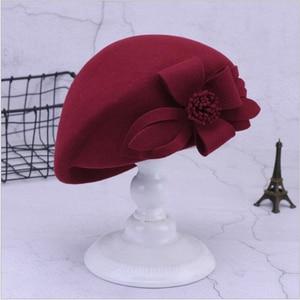 Image 2 - 2019 חדש צמר כומתת חורף כומתות נשים אופנה הרגיש פרחוני נשי צרפתית אלגנטי כפת מגבעת כובע כפה Autumu פרח