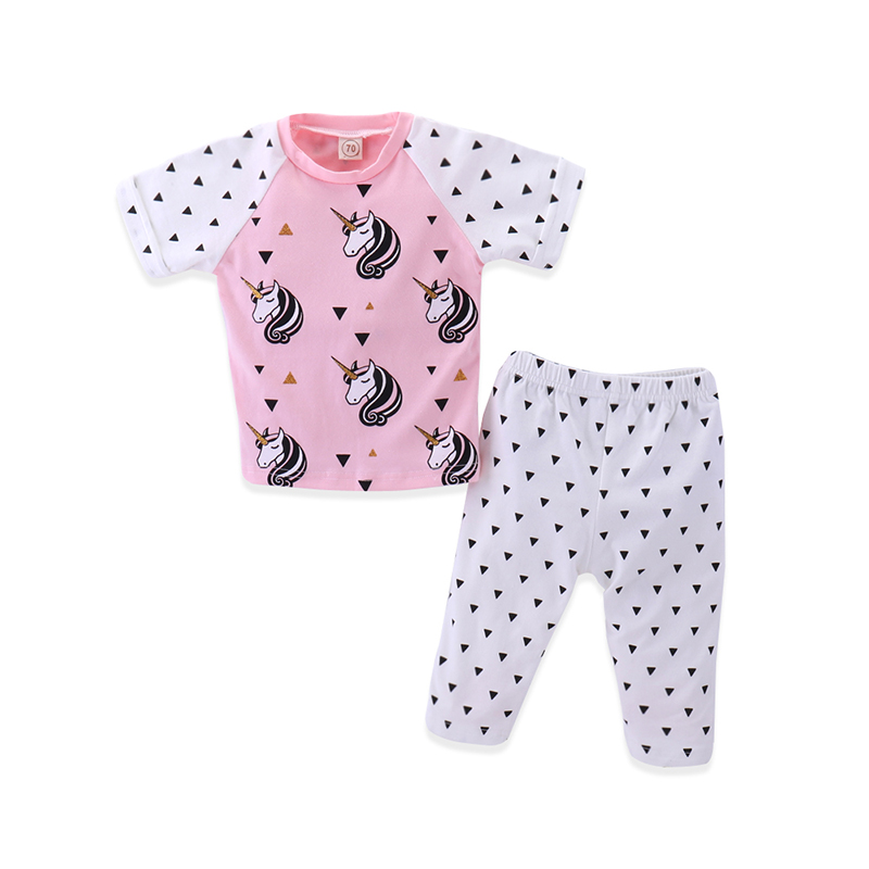 2PC/Sets Little Baby Night Clothes Girls Sets Horse Printed Design Short Sleeve T-shirt Pants Cotton Clothing Suits