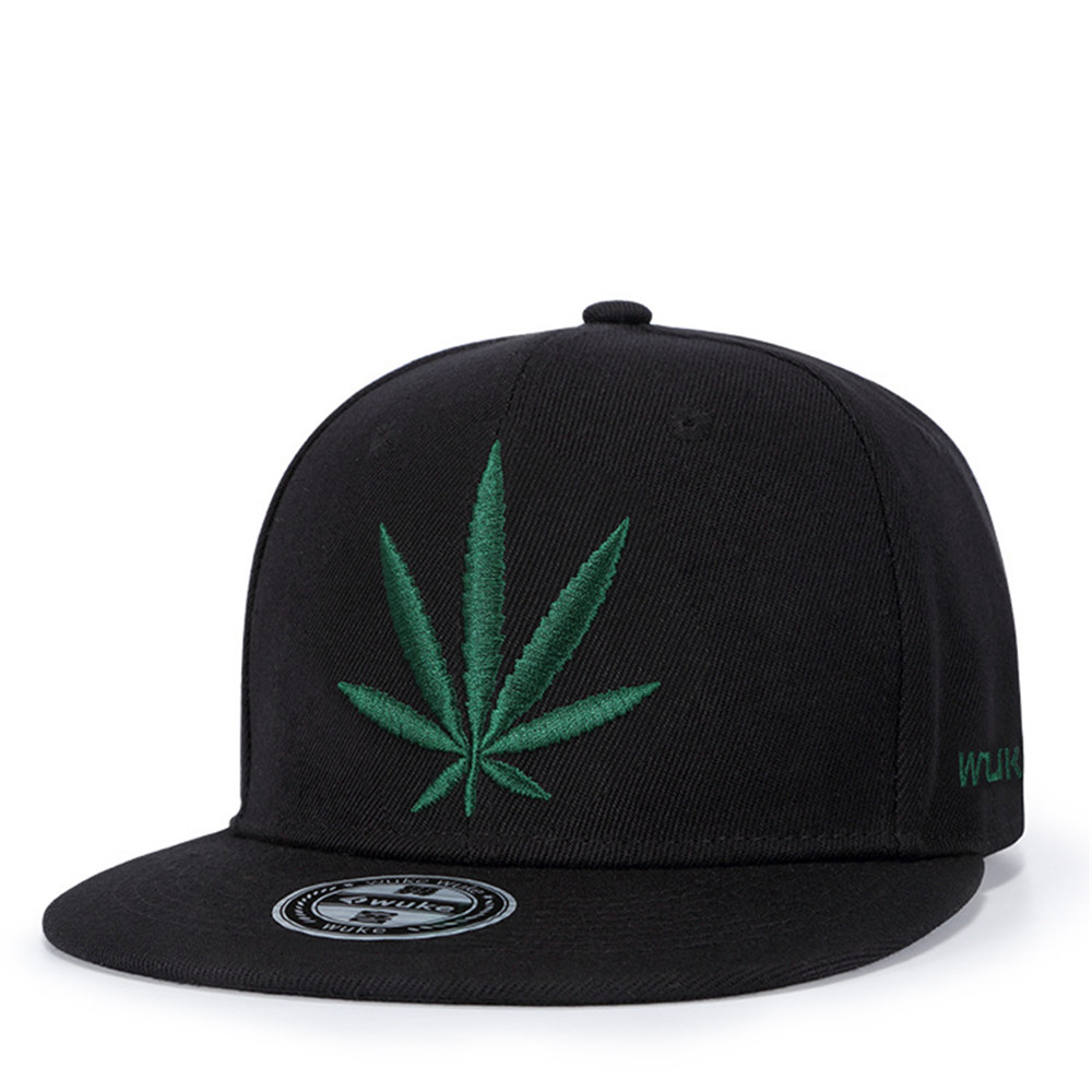 Wuke Hemp Leaf Embroidery Sports Outdoors   Cap   Hip Hop Casquette Fashion   Baseball     Cap   Gorras for Men Women Fitted Snapback Hat