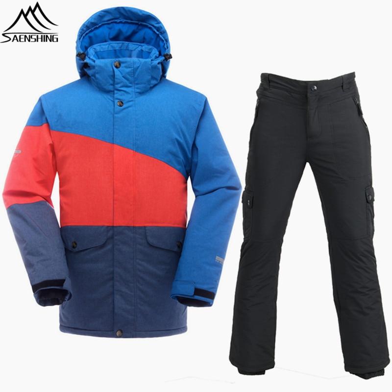 SAENSHING Brand Ski Suit Men Mountain Skiing Suits Waterproof 10000 Thermal Ski Jacket Snowboarding Suits Breathable Skiing Sets men ski brand snowboard costume skiing suit sets waterproof