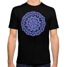 T Shirt Summer Personality Fashion Shirts O-Neck Short Sleeve Mens Lilac Spring Mandala