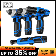 PROSTORMER 12V Series Cordless Power Tools Household DIY Electric Drill Screwdriver Wrench Ratchet Wrench Professional Tools household tool ratcheting wrench set nut drill sleeve ratchet screwdriver 34 pcs of composite plastic packages
