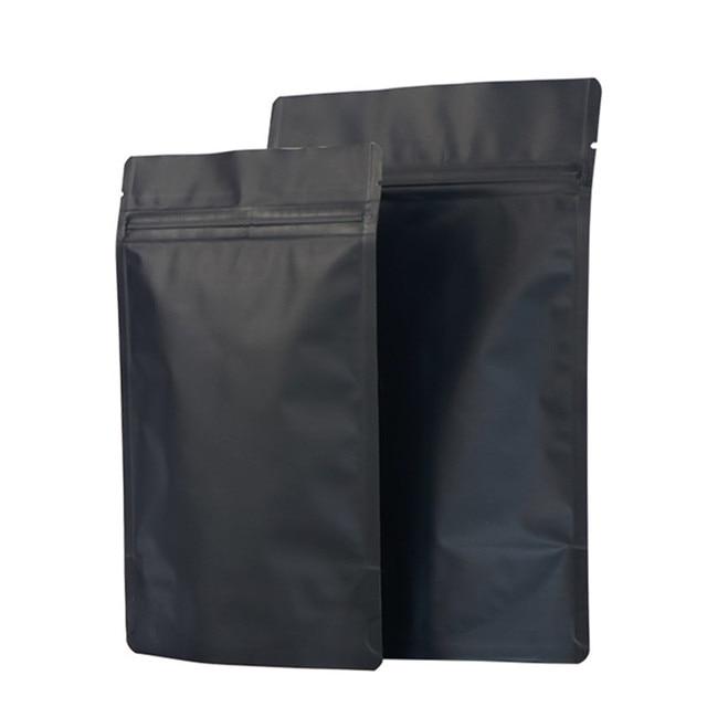 Оптовая продажа матовый черный вертикальный Алюминиевый Сумка из фольги с замком закуски печенье Чай пакет для упаковки кофе дой-Пак Черный Фольга сумки с замком-молнией