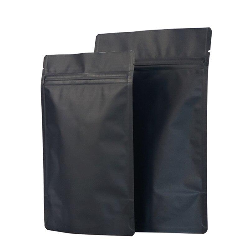 Wholesale Matt Black Stand Up Aluminum Foil Ziplock Bag Snack Cookie Tea Coffee Packaging Bag Doypack Black Foil Zipper Pouches