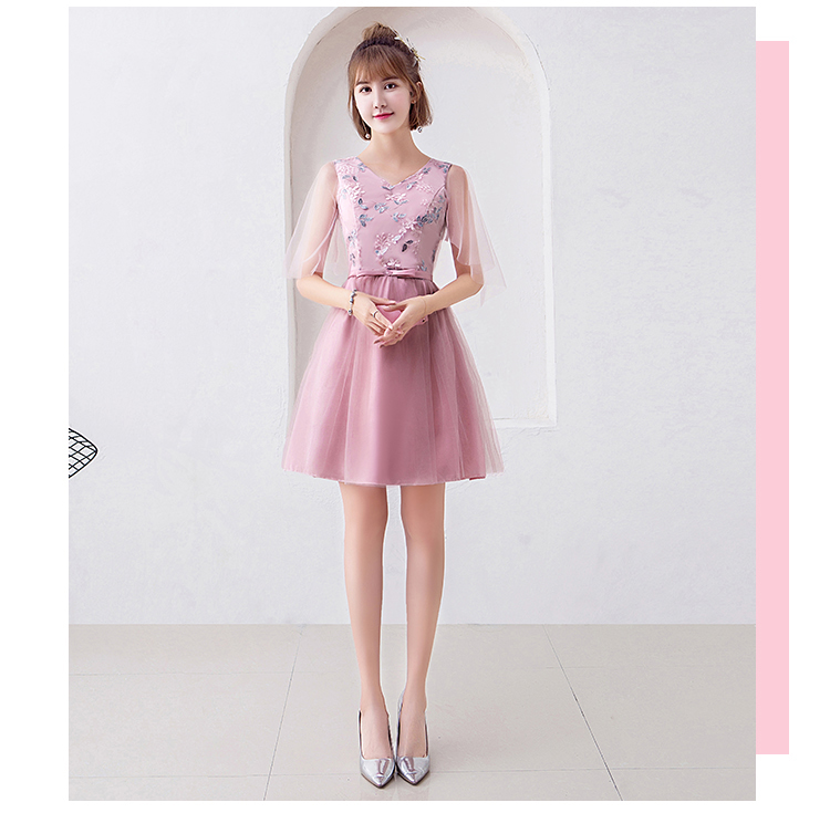 Embroidery Wedding Guest Dress Bridesmaid Short Sleeves Elegant Party Ladies A-Line New Years Pink Eve Dress Sexy Prom Vestido