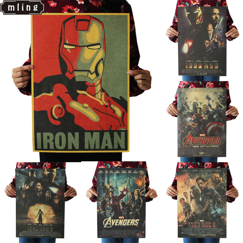 51.5x36cm Hero Iron Man Captain America The Avengers Vintage Kraft Paper Classic Movie Poster Home Decor Wall Decoration(China)