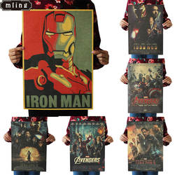 51,5x36 см герой Железный человек Капитан Америка Мстители оберточная бумага в винтажном стиле классический фильм плакат домашний декор