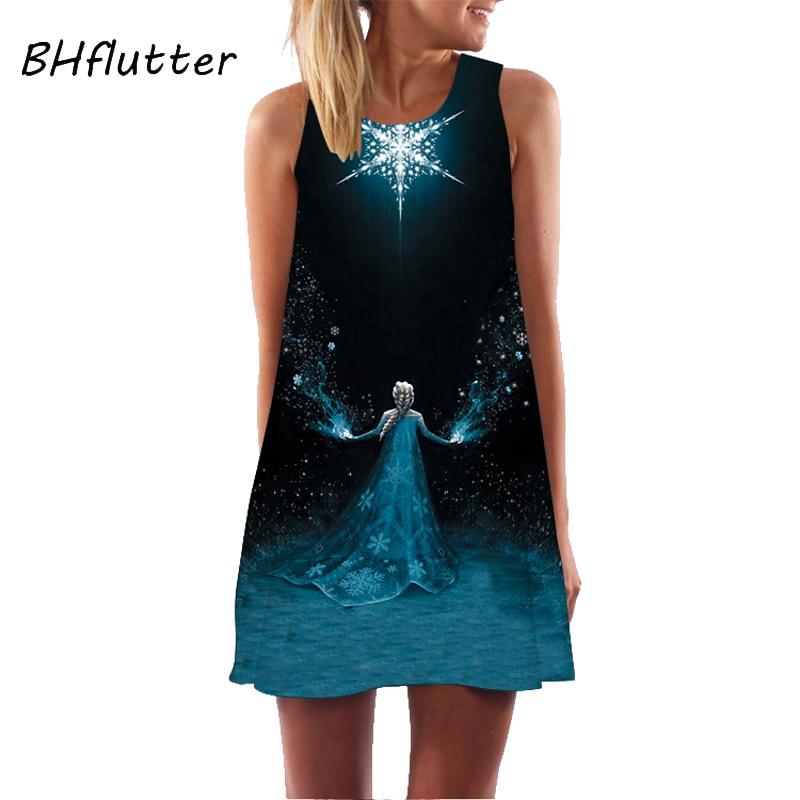 BHflutter Women Dress New Style Digital Printing Short Retro Vintage Dress Sleeveless Round Neck Casual Chiffon Summer Dresses