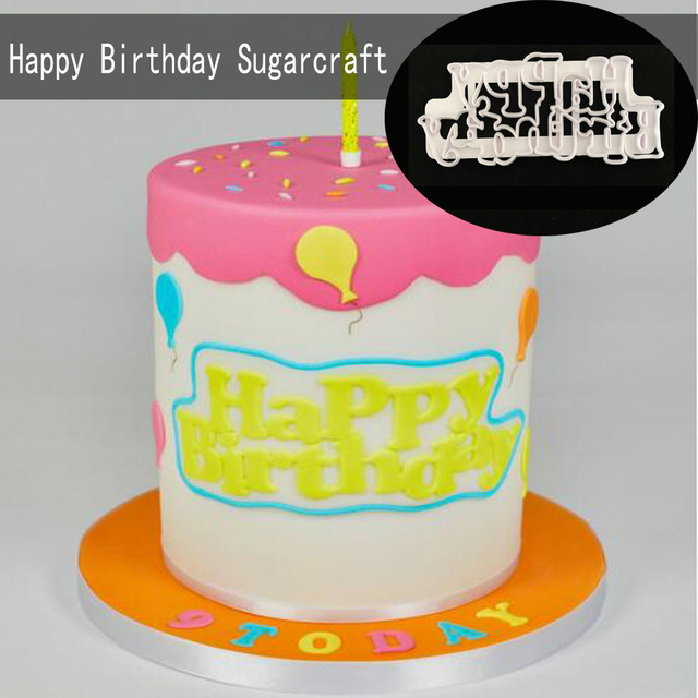 Happy Birthday Sugarcraft Mold Cake Cookie Cutter Plastic Fondant Molds Decorating
