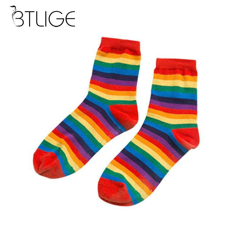 BTLIGE Rainbow Women   Socks   Cute Cotton Mixed Colored Rainbow Striped Crew   Socks   Knitted Ladies Short   Socks   For Girl Causal