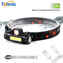 USB Rechargeable LED Headlamp With tail magnet COB work light Built-in 18650 battery headlight suit for fishing, camping, etc.