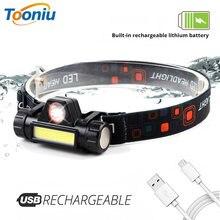Светодиодный налобный фонарь с зарядкой от usb и магнитом на