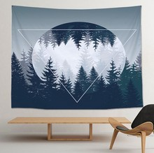 CAMMITEVER HD Forest Tapestry As if in the Home Decor Fog Trees 3D Decorative Wall Moonlight