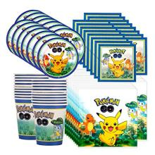 Cartoon pikachu Pokemon Go party Disposable Tableware Plate Napkins Banner Birthday Candy Box Baby Shower Party Decoration(China)
