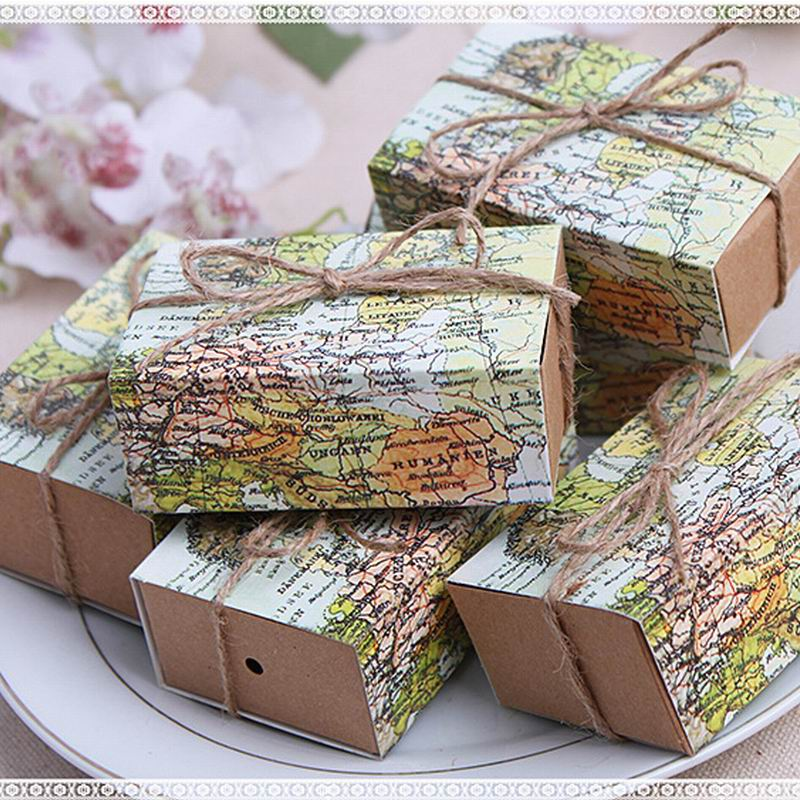 200pcs New Around The World Map Favor Sweet Box For Traveling