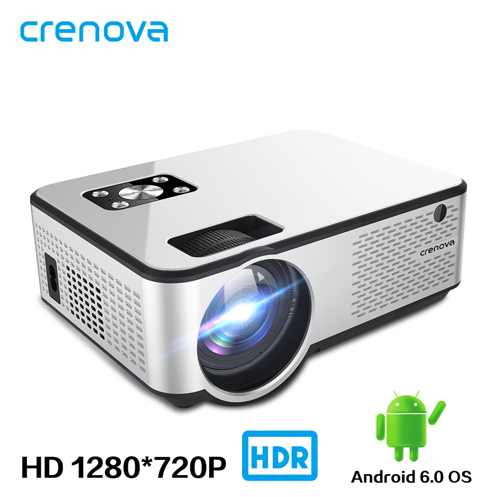 CRENOVA 2019 Newest Android Projector 1280*720P Support 4K Videos Via HDMI Home Cinema Movie LED Projector(China)