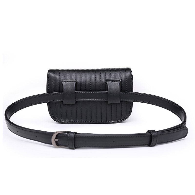 Jiessie Angela New Fashion Black Solid Leather Waist Pack For Women Fanny Pack Waist Bag Pouch Phone Women Bag Bolosa in Waist Packs from Luggage Bags