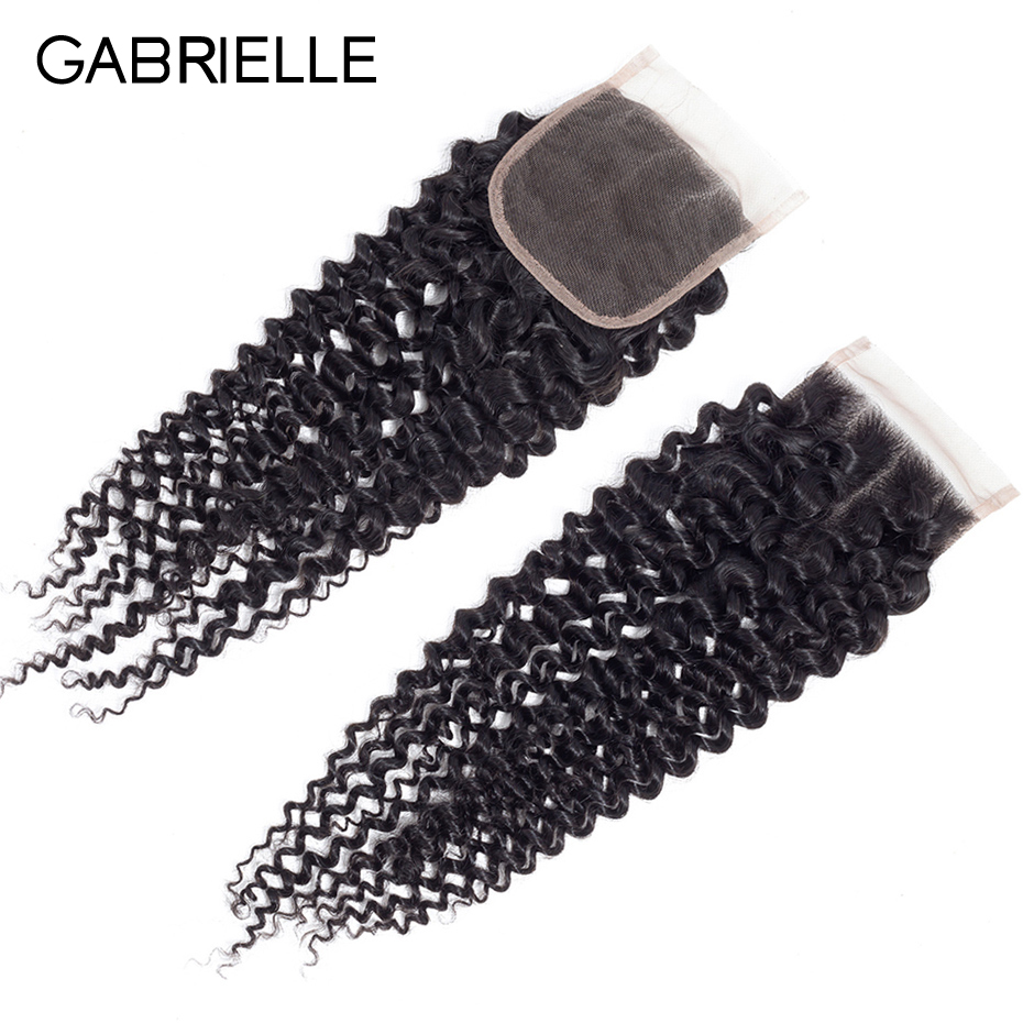 Gabrielle Lace Closure Human-Hair Weave Kinky Indian 8-22-Inch 4x4 with Free-Part Non-Remy