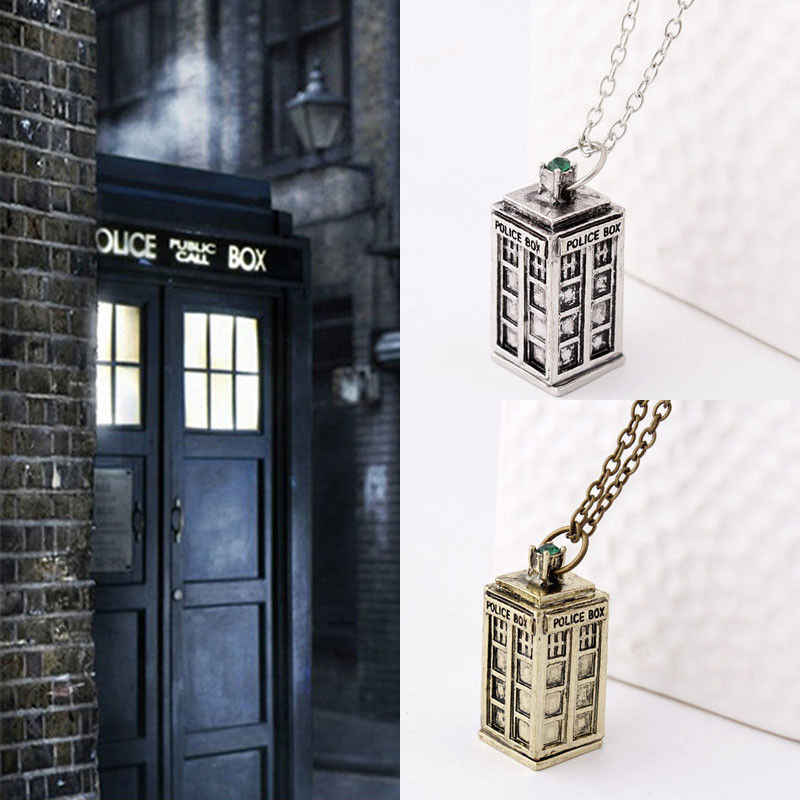 3D Doctor Who Men Ladies TARDIS Police Box Pewter Tall Long Chain Pendant Necklace Uniex Fashion Necklace