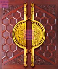 Smok i feniks rzeźba w drewnie uchwyt do holowania drzwi 1 metr dom lub willa hotel wysokiej jakości szklane drzwi złote uchwyty tanie tanio PinKeShi Galwaniczne STAINLESS STEEL D-121 35mm Klamki 1000mm 38mm 12mm 160mm 45mm gold hotel wooden door glass door