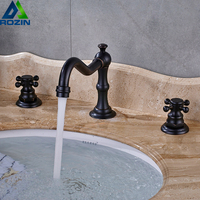 Bronze Black Basin Faucet Widespread Bathroom Mixer Tap Dual Handle Deck Mounted Hot Cold Water Tap Brass 3 Holes Washing Tap
