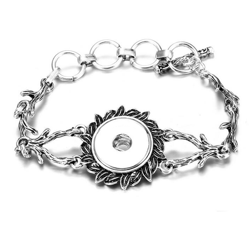 High Quality Antique Silver Plated Vintage Flowers Chains Snap Bracelet Bangles Fit 18MM Snap Buttons DIY Jewelry
